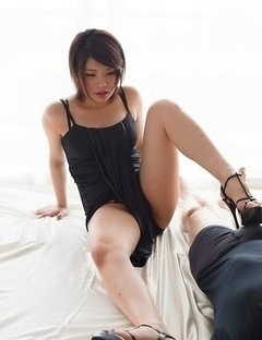 Mei Ashikawa using her delightful feet to get this guy to cum buckets