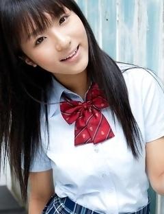 Miho Morita in school uniform loves flowers and fresh air