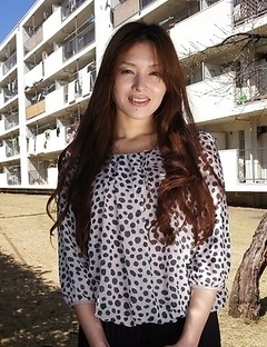 Hitomi Kano with long beautiful hair is happy