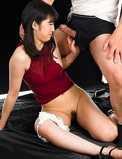Reo Saionji is brought back to a room where she is surprised by her date who gropes her then fucks her throat!